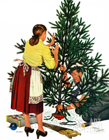 """Centering the Christmas Tree"", December 22, 1951 Stretched Canvas Print"