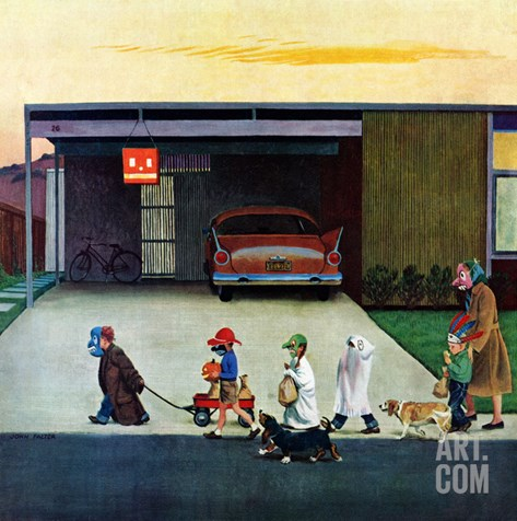 """""""Trick-Or-Treating in the Burbs"""", November 1, 1958 Stretched Canvas Print"""