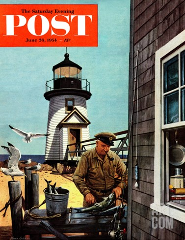 """Lighthouse Keeper"" Saturday Evening Post Cover, June 26, 1954 Stretched Canvas Print"