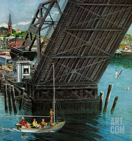 """Drawbridge"", September 22, 1956 Stretched Canvas Print"