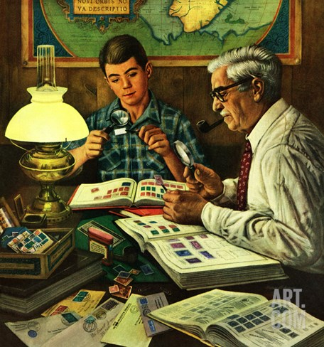 """Stamp Collecting"", February 27, 1954 Stretched Canvas Print"