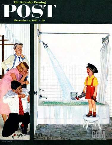 """Overflowing Tub"" Saturday Evening Post Cover, December 3, 1955 Stretched Canvas Print"