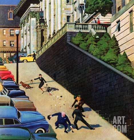 """Spilled Purse on Steep Hill"", March 26, 1955 Stretched Canvas Print"