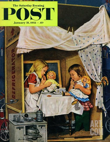 """Playing House"" Saturday Evening Post Cover, January 31, 1953 Stretched Canvas Print"