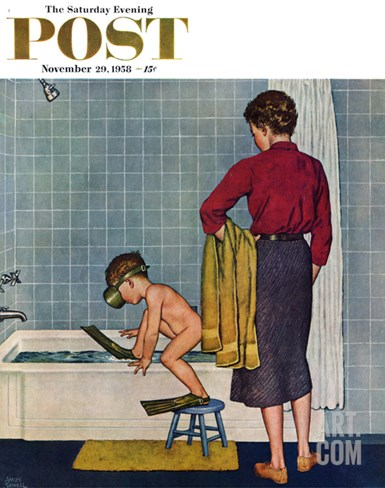 """Scuba in the Tub"" Saturday Evening Post Cover, November 29, 1958 Stretched Canvas Print"