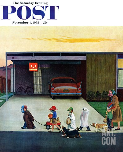 """Trick-Or-Treating in the Burbs"" Saturday Evening Post Cover, November 1, 1958 Stretched Canvas Print"