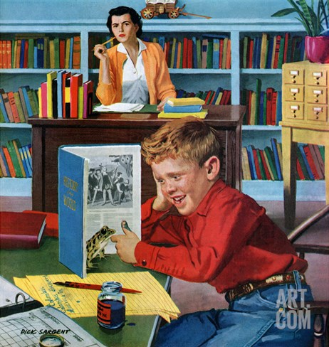 """Frog in the Library"", February 25, 1956 Stretched Canvas Print"