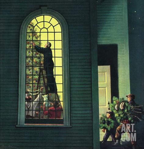"""Church Christmas Tree"", December 27, 1952 Stretched Canvas Print"