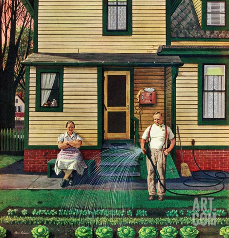 """Tending the Garden"", May 26, 1951 Stretched Canvas Print"