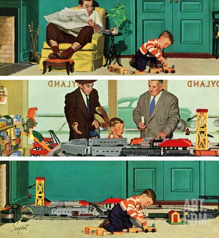 """New Toy Train"", December 19, 1953 Stretched Canvas Print"