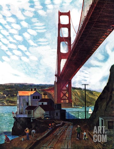 """Fishing Under the Golden Gate"", November 16, 1957 Stretched Canvas Print"