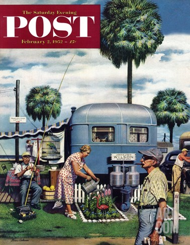 """Trailer Park Garden"" Saturday Evening Post Cover, February 2, 1952 Stretched Canvas Print"