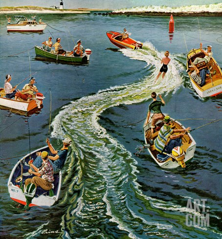 """Making a Wake"", July 26, 1958 Stretched Canvas Print"