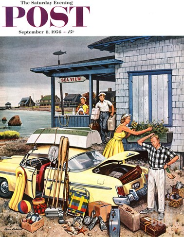 """Packing the Car"" Saturday Evening Post Cover, September 8, 1956 Stretched Canvas Print"