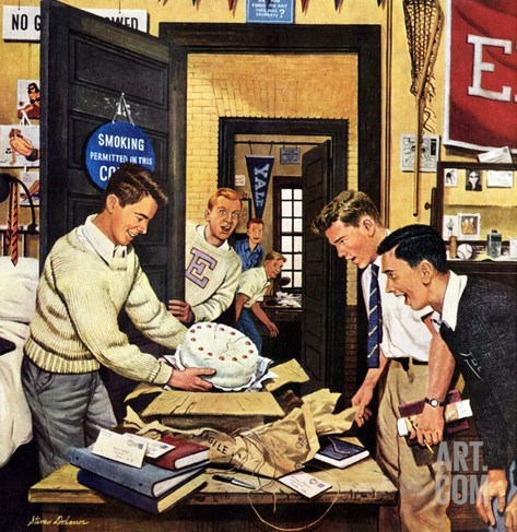 """Package from Home"", February 3, 1951 Stretched Canvas Print"