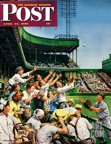 """Catching Home Run Ball"" Saturday Evening Post Cover, April 22, 1950 Stretched Canvas Print"