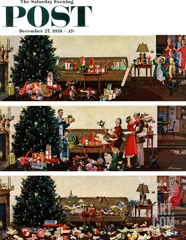 """Christmas Morning"" Saturday Evening Post Cover, December 27, 1958 Stretched Canvas Print"