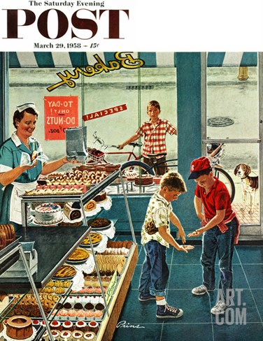 """Doughnuts for Loose Change"" Saturday Evening Post Cover, March 29, 1958 Stretched Canvas Print"