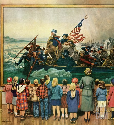 """Washington Crossing the Delaware"", February 24, 1951 Stretched Canvas Print"