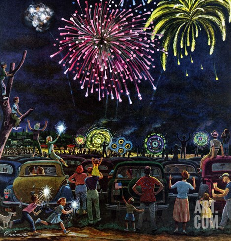 """Fireworks"", July 4, 1953 Stretched Canvas Print"