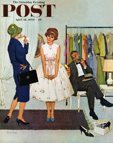 """First Prom Dress"" Saturday Evening Post Cover, April 18, 1959 Stretched Canvas Print"