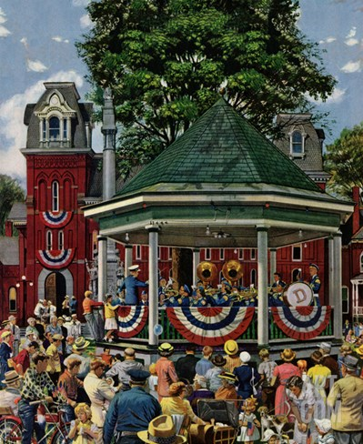 """Patriotic Band Concert"", July 7, 1951 Stretched Canvas Print"