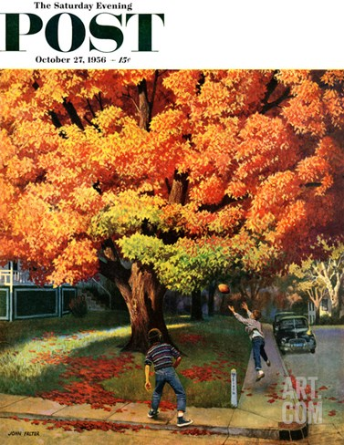 """Tossing the Football"" Saturday Evening Post Cover, October 27, 1956 Stretched Canvas Print"