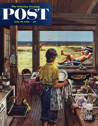 """Doing Dishes at the Beach"" Saturday Evening Post Cover, July 19, 1952 Stretched Canvas Print"