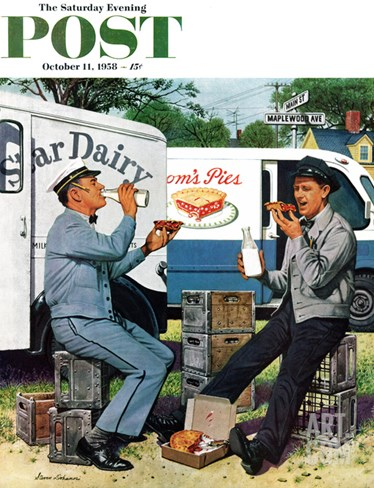 """Milkman Meets Pieman"" Saturday Evening Post Cover, October 11, 1958 Stretched Canvas Print"