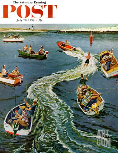 """Making a Wake"" Saturday Evening Post Cover, July 26, 1958 Stretched Canvas Print"