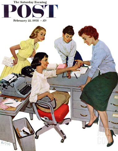 """Engagement Ring"" Saturday Evening Post Cover, February 22, 1958 Stretched Canvas Print"