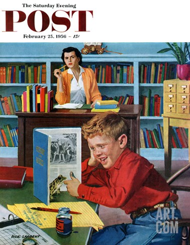 """Frog in the Library"" Saturday Evening Post Cover, February 25, 1956 Stretched Canvas Print"