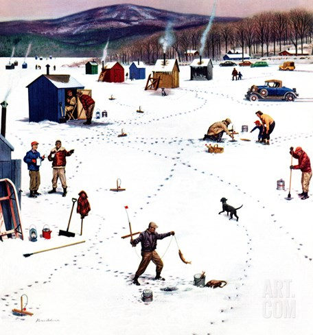 """Ice Fishing Camp"", January 12, 1957 Stretched Canvas Print"