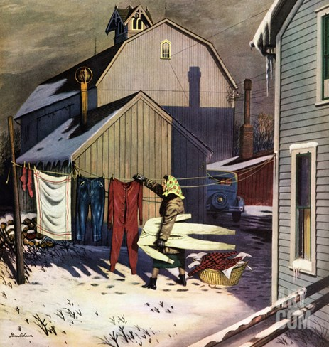 """Frozen Laundry"", March 8, 1952 Stretched Canvas Print"