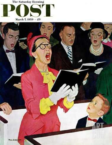 """""""Singing Praise"""" Saturday Evening Post Cover, March 7, 1959 Stretched Canvas Print"""