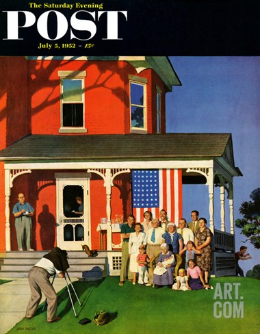"""Family Portrait on the Fourth"" Saturday Evening Post Cover, July 5, 1952 Stretched Canvas Print"