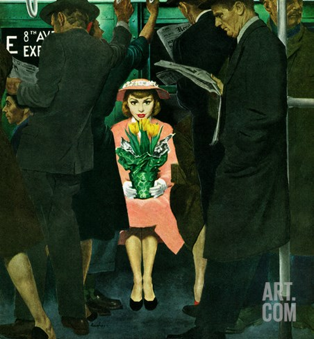 """""""Subway Girl and Easter Lily"""", March 28, 1953 Stretched Canvas Print"""
