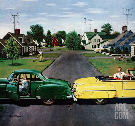 """Backup Collision"", August 4, 1956 Stretched Canvas Print"