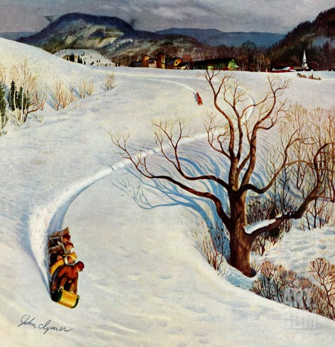 """Tobogganing"", January 22, 1955 Stretched Canvas Print"