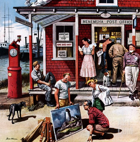 """Coastal Postal Office"", August 26, 1950 Stretched Canvas Print"