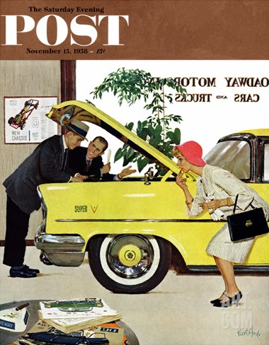 """Checking it Out"" Saturday Evening Post Cover, November 15, 1958 Stretched Canvas Print"