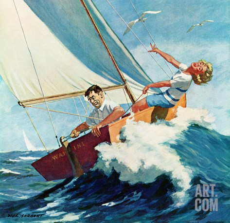 """Seasick Sailor"", August 22, 1959 Stretched Canvas Print"