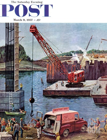 """Bridge Construction"" Saturday Evening Post Cover, March 9, 1957 Stretched Canvas Print"