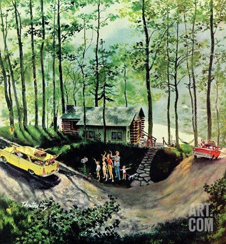 """Visitors to Cabin in the Woods"", August 23, 1958 Stretched Canvas Print"
