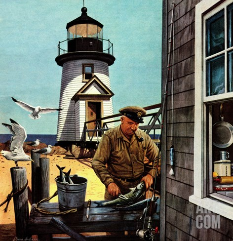 """Lighthouse Keeper"", June 26, 1954 Stretched Canvas Print"