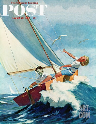 """Seasick Sailor"" Saturday Evening Post Cover, August 22, 1959 Stretched Canvas Print"