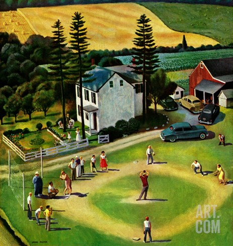 """Family Baseball"", September 2, 1950 Stretched Canvas Print"