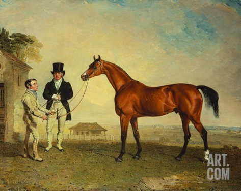 Skiff', a Bay Racehorse, Held by a Groom on Newmarket Heath, with John Howe, the Owner of the… Stretched Canvas Print