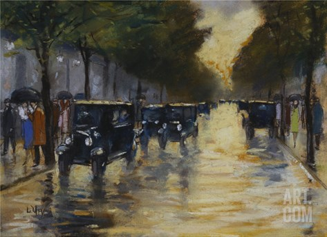 Berlin Streetscene in the Rain; Berliner Strassenszene in Regen Stretched Canvas Print