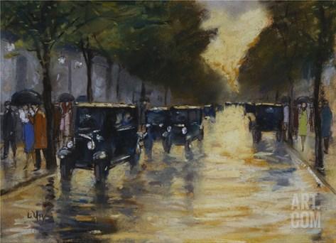 Berlin Streetscene in the Rain; Berliner Strassenszene in Regen Stretched Canvas Print